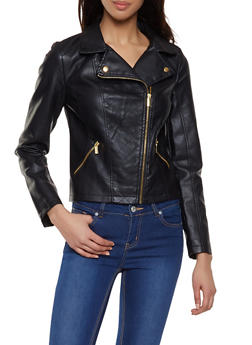 Quilted Front Faux Leather Jacket - 1087051061510