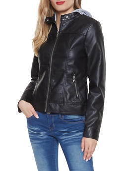 Hooded Faux Leather Jacket - 1087051062000