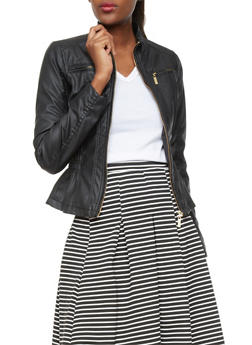 Faux Leather Flat Collar Jacket With Chest Pockets And Side Ruching - BLACK - 1087051062600