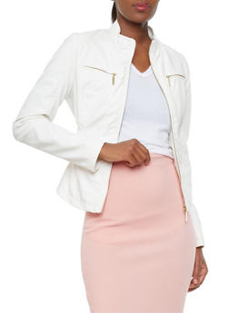 Faux Leather Flat Collar Jacket With Chest Pockets And Side Ruching - WHITE - 1087051062600
