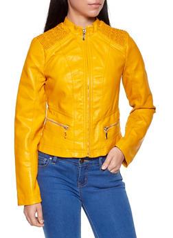 Ruched Shoulder Faux Leather Jacket - 1087051062913