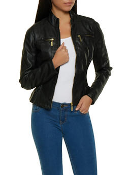 Ruched Waist Faux Leather Moto Jacket - 1087051062926