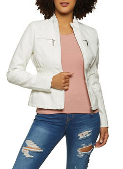 Ruched Faux Leather Moto Jacket - 1087051062928