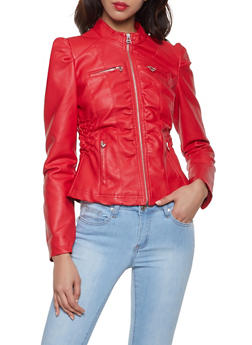 Faux Leather Ruched Waist Jacket - 1087051064940