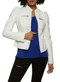 Ruched Faux Leather Zip Moto Jacket - 1087051064942