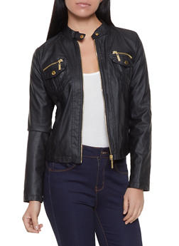 Faux Leather Tabbed Collar Jacket - 1087051065048