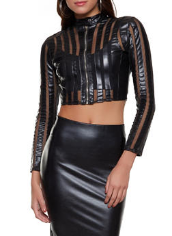 Cropped Faux Leather Shadow Stripe Jacket - 1087051065260