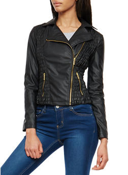 Ruched Faux Leather Jacket - 1087051065635