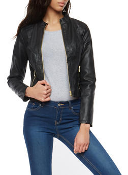 Zip Up Faux Leather Moto Jacket - 1087051065696