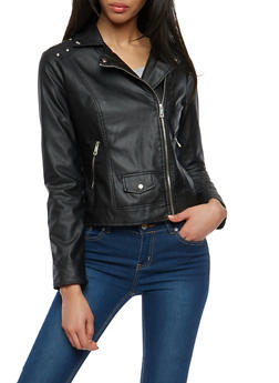 Studded Shoulder Faux Leather Jacket - 1087051066201