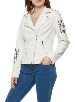 Faux Leather Embroidered Sleeve Moto Jacket - 1087051066202
