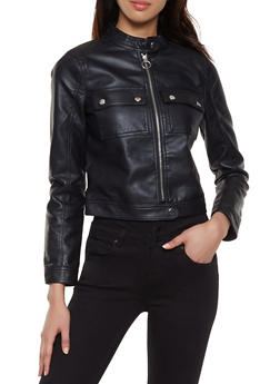 Faux Leather Patch Pocket Jacket - 1087051066262