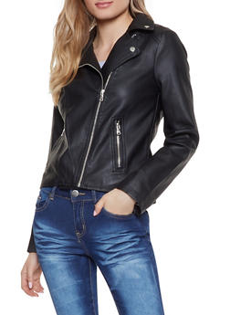 Faux Leather Moto Jacket - 1087051066333