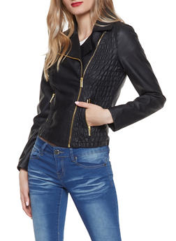 Ruched Faux Leather Jacket - 1087051066350
