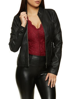 Faux Leather Ruched Side Moto Jacket - 1087051067001