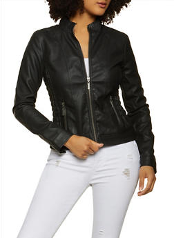Faux Leather Ruched Moto Jacket - 1087051067002