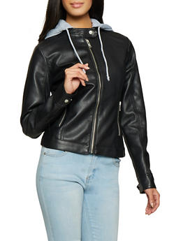Hooded Faux Leather Jacket - 1087051067049