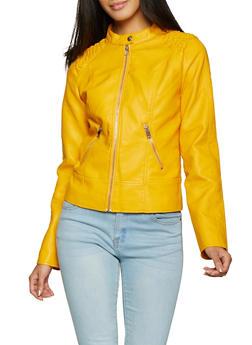 Ruched Shoulder Faux Leather Jacket | 1087051067061 - 1087051067061