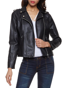 Faux Leather Moto Jacket - 1087051067153