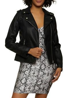 Faux Leather Asymmetrical Zip Moto Jacket - 1087051067154