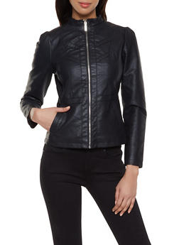 Faux Leather Decorative Stitch Jacket - 1087051067219