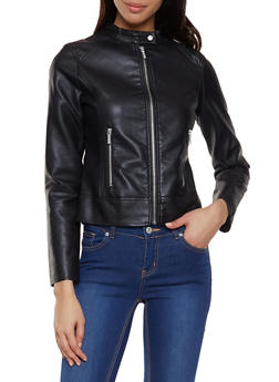 Faux Leather Zip Front Jacket | 1087051067226 - 1087051067226