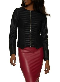 Shadow Stripe Faux Leather Jacket - 1087051067878