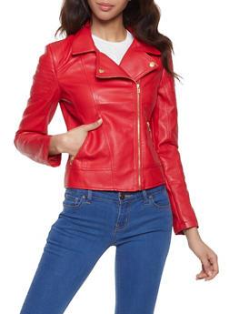 Faux Leather Moto Jacket - 1087051067900