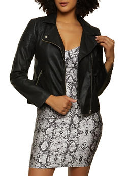 Faux Leather Zip Moto Jacket - 1087051067902