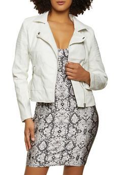 Faux Leather Zip Moto Jacket - 1087051067902