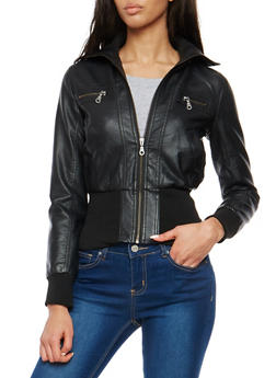 Faux Leather Zip Up Bomber Jacket - 1087051069033