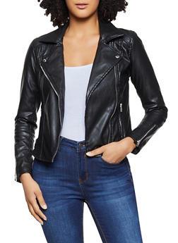 Asymmetrical Zip Faux Leather Jacket - 1087054262207