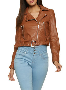 Buckle Faux Leather Jacket - 1087054262208