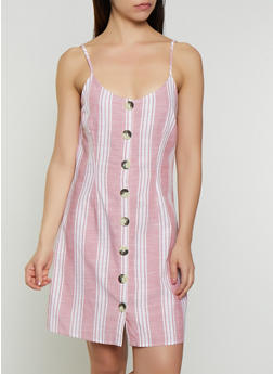 Striped Button Front Linen Dress - 1090015050363