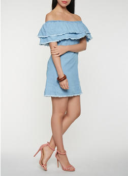 Tiered Off the Shoulder Chambray Dress - 1090015050387