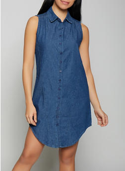 Sleeveless Denim Shirt Dress - 1090038340708
