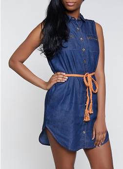 Belted Denim Shirt Dress | 1090038340709 - 1090038340709
