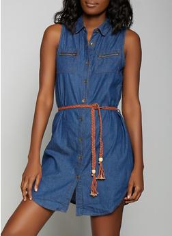 Belted Denim Shirt Dress - 1090038340709
