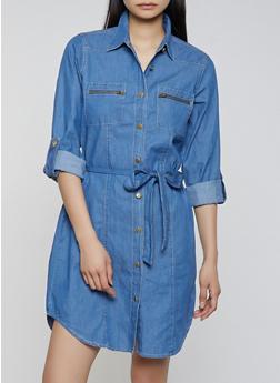 Belted Denim Shirt Dress - 1090038340710