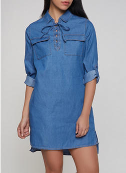Lace Up Denim Dress - 1090038340711