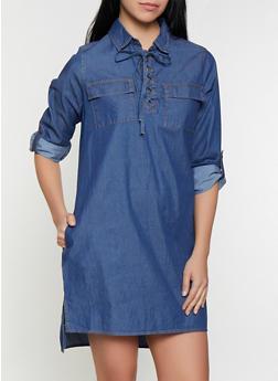 Lace Up Denim Dress - 1090038340711