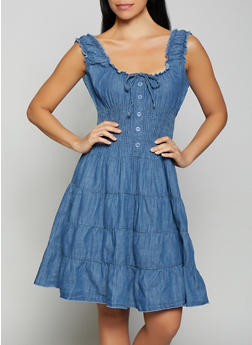 Denim Peasant Dress - 1090038340712