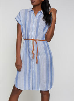 Belted Striped Shirt Dress - 1090038340721