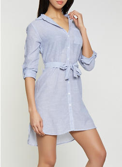 Striped Tie Waist Shirt Dress - 1090038340722