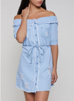 Fold Over Off the Shoulder Denim Dress - 1090038340727