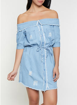 e80b477f7 Fold Over Off the Shoulder Denim Dress - 1090038340727