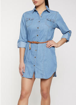 Belted Denim Shirt Dress - 1090038341707