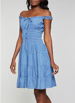 Smocked Denim Skater Dress - 1090038341712