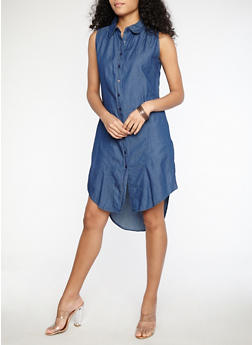 Sleeveless Button Front Denim Dress - DARK WASH - 1090038342926