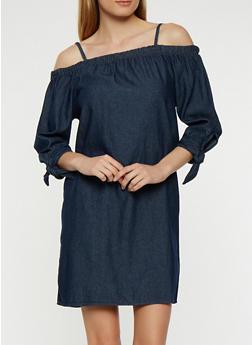Off the Shoulder Denim Dress - 1090038348730